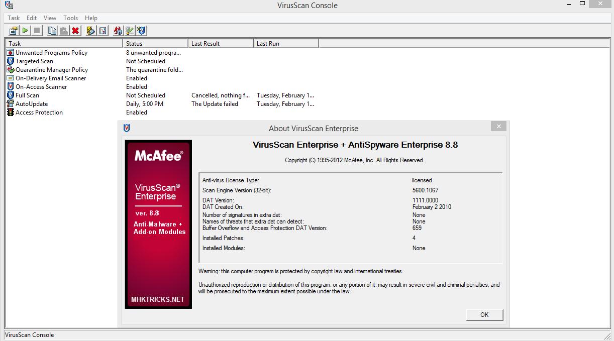 Mcafee virusscan enterprise 8. 8. 0. 11 | free ebooks download ebookee!