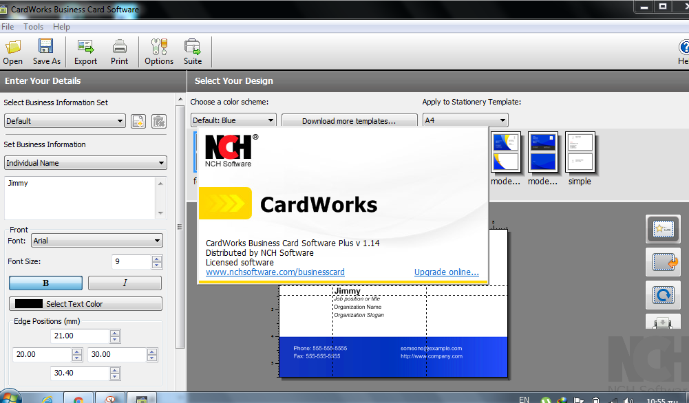 CardWorks Free Business Card Templates NCH Software - satukis.info