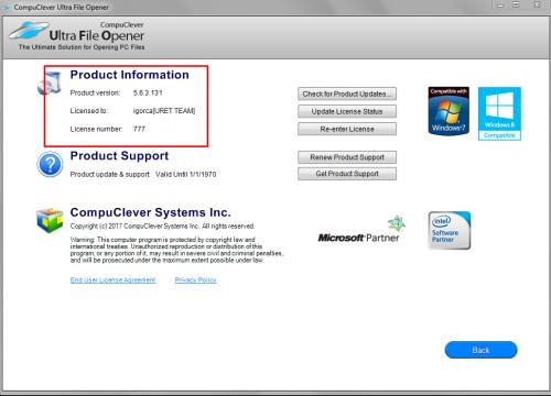 ultra file opener license number