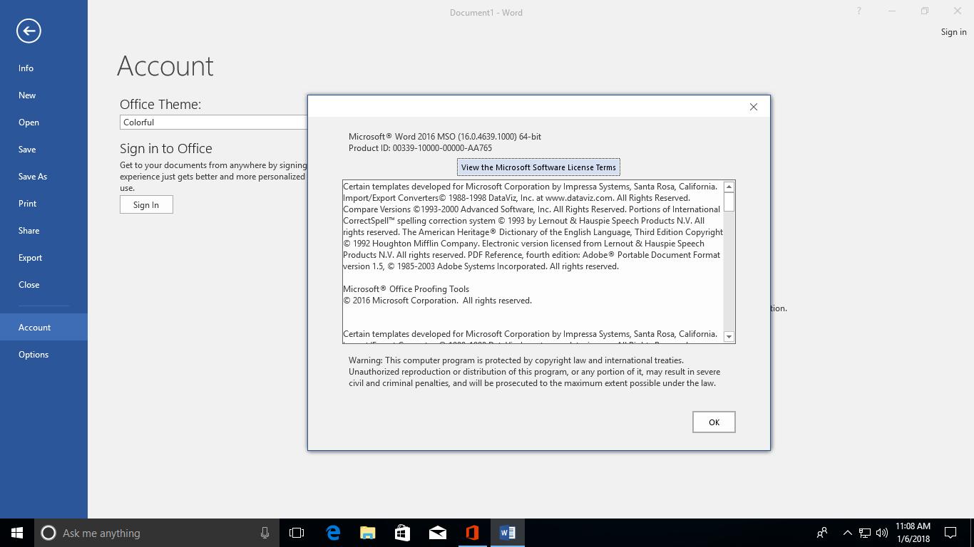 Microsoft Office Professional Plus 2016 (x86x64) v16.0.4639.1000 Jan2018