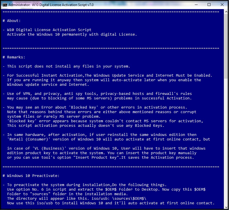 Direct - Windows 10 Digital License Activation Script version 7 0