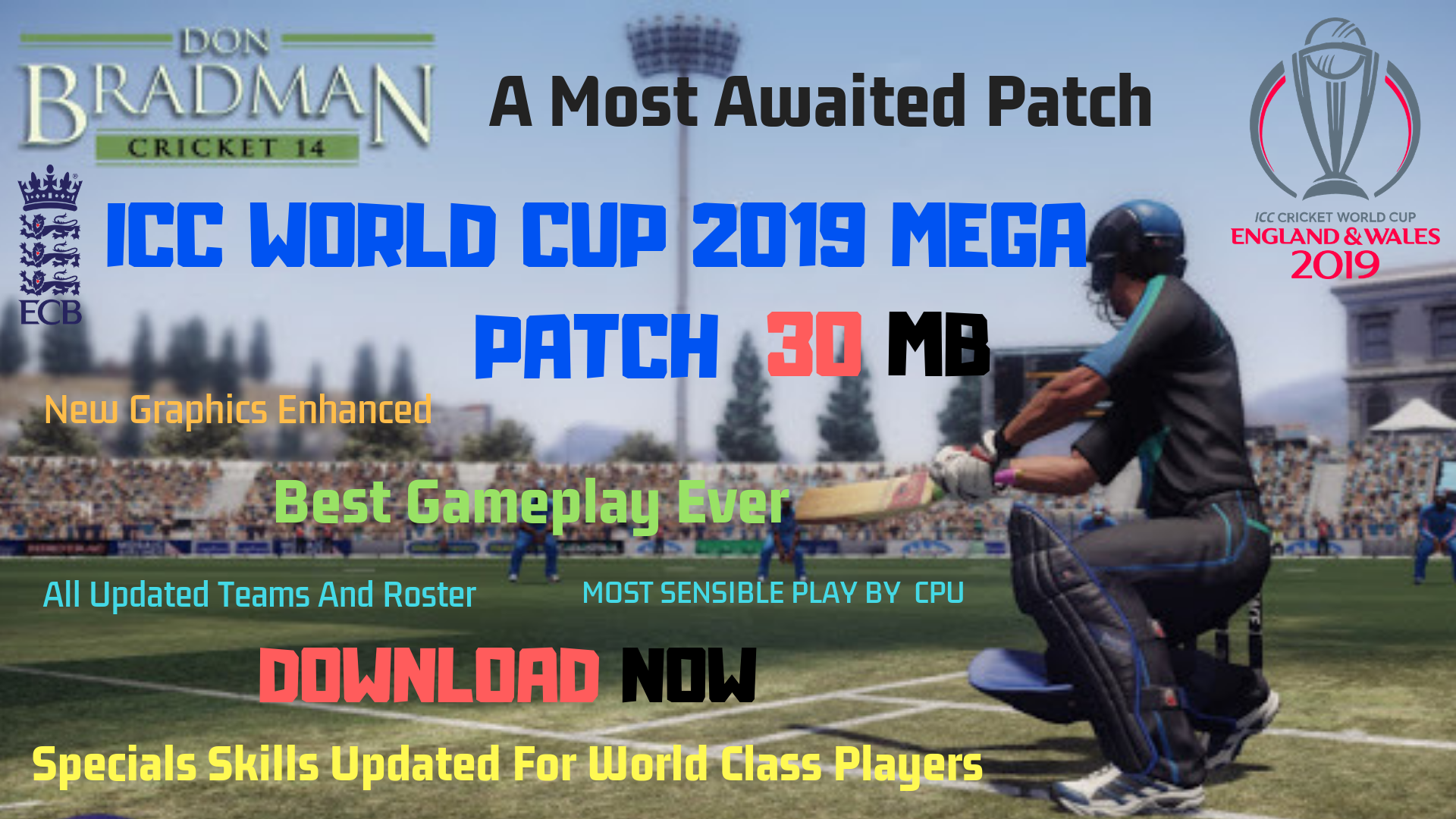 Don Bradman Cricket 14 World Cup 2019 Mega Patch