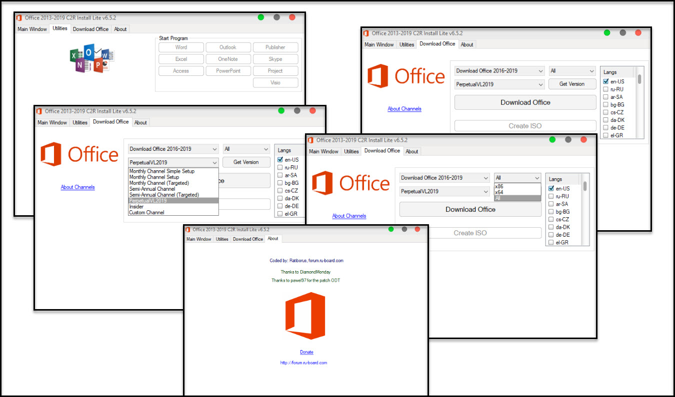 Direct - Office 2013-2019 C2R Install + Lite version 6 5 2