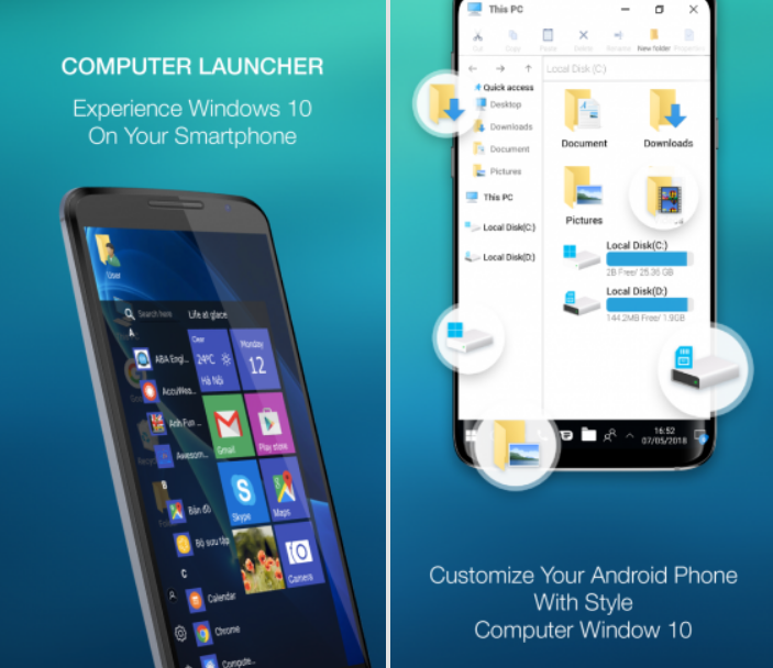 Direct - Computer launcher PRO with Win 10 Theme v4 5(Ad