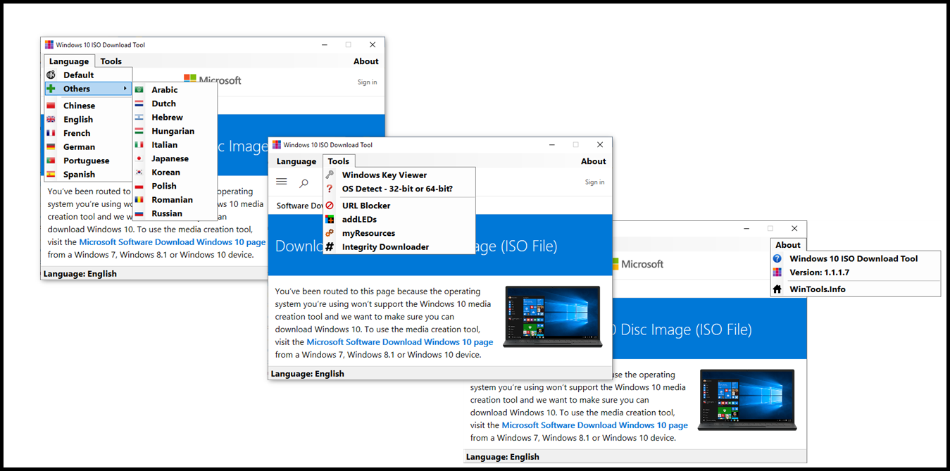 Direct - Windows 10 ISO Download Tool version 1 1 1 7