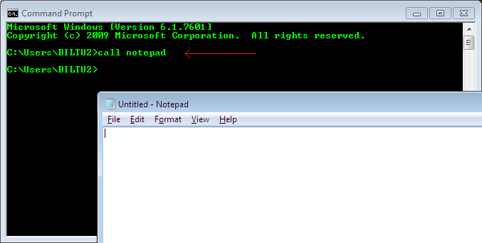 call command in command prompt window