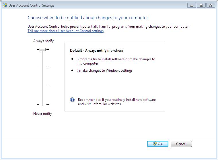User Account Control Setting into Windows 7