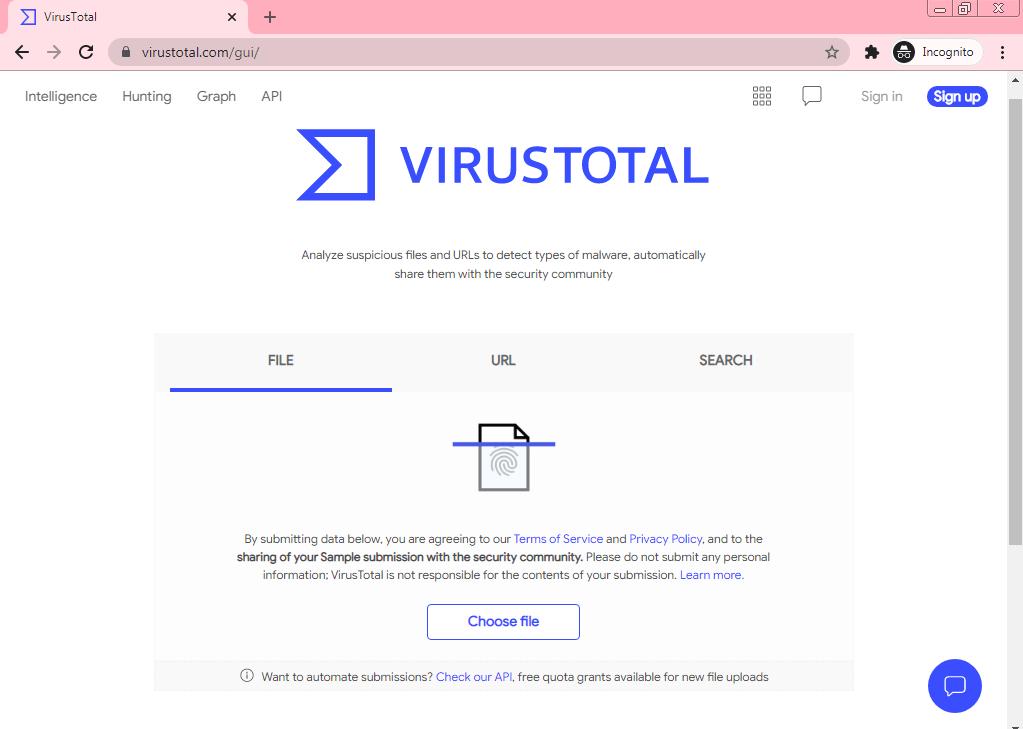 virustotal virus scanner (virustotal.com)