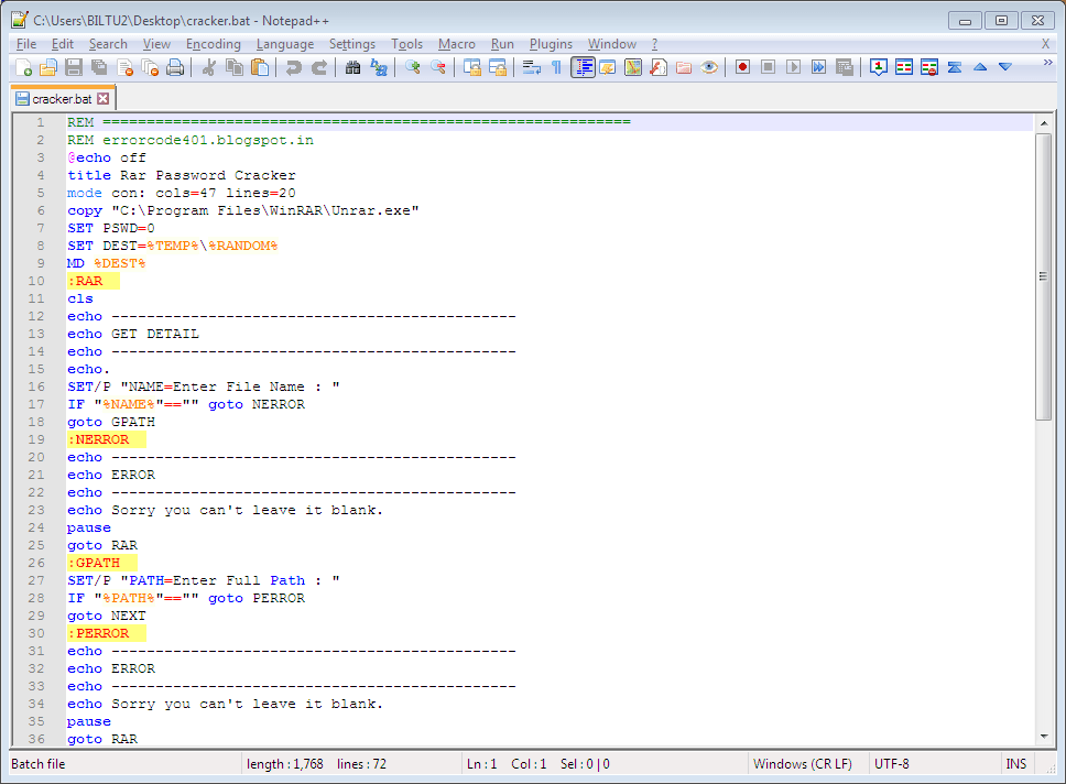 Viewing code of a batch file using Notepad++