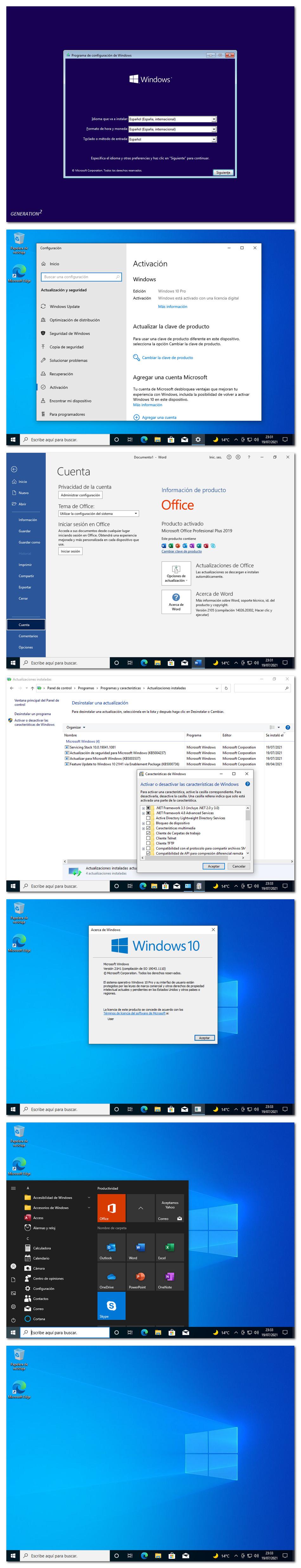 windows 10 21h1 con office 2019